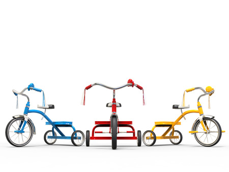 Red, blue and yellow tricycles