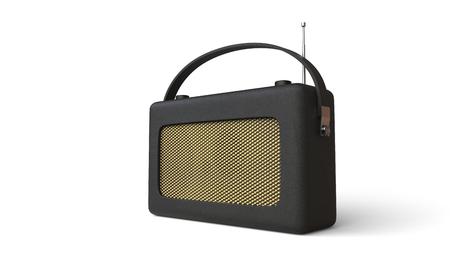 transistor: Old black transistor radio - studio shot