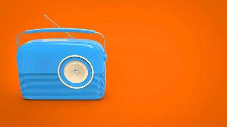 shortwave: Cool blue vintage radio on orange background