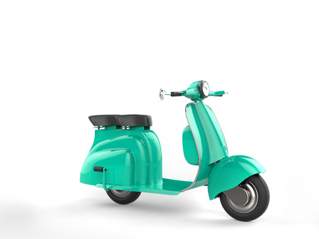 moped: Candy teal moped on white background