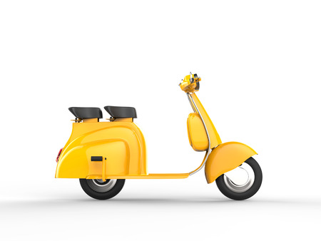 黄色のスクーター - 側面図