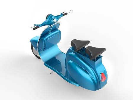 moped: Light blue moped - top back view