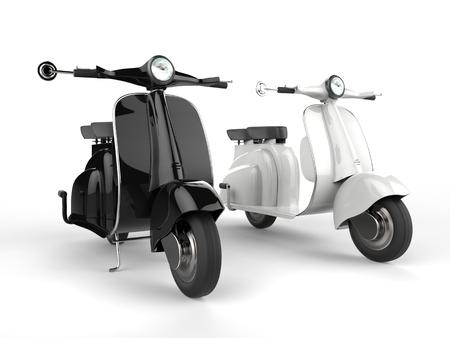 motor bikes: Black and white motor bikes