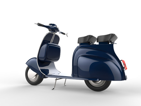 moped: Deep blue old style moped