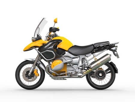 dirtbike: Yellow motorcycle - side view