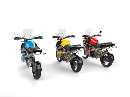 dirtbike: Blue, yellow and red modern bikes with windshields - rear view