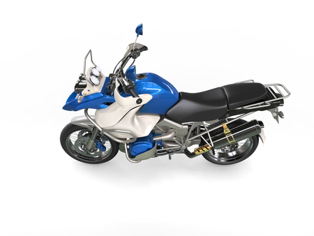 dirtbike: Cool blue and white bike - top side view
