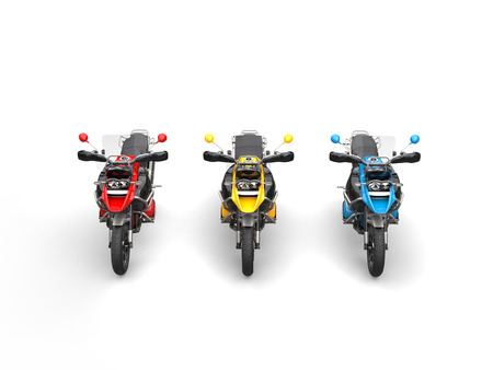 dirtbike: Red, yellow and blue modern bikes with windshields - front top shot