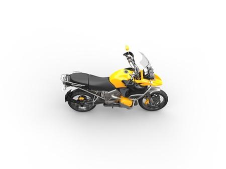 dirtbike: Yellow bike - top side view Stock Photo