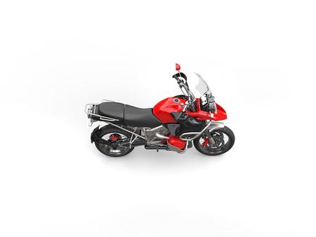 dirtbike: Red bike - top side view