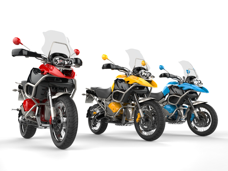 dirtbike: Modern bikes with windshields - primary colors Stock Photo