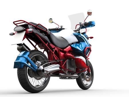dirtbike: Modern bike - red, blue and white metallic paint job