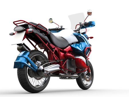 Modern bike - red, blue and white metallic paint job