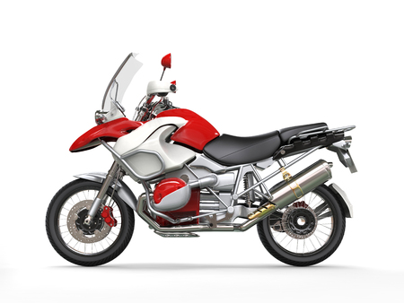 motorcross: Cool red and white motorcycle - side view Stock Photo