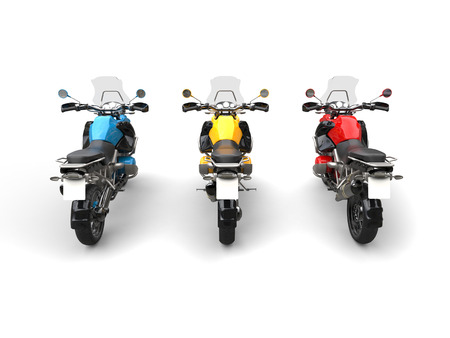 dirtbike: Blue, yellow and red modern bikes with windshields - back view