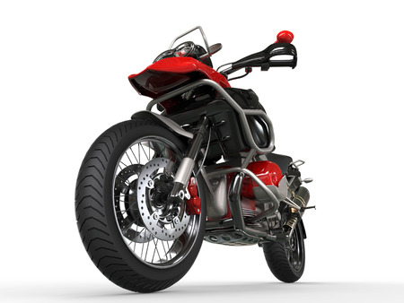 Powerful motorcycle - front wheel closeup shot Stock Photo