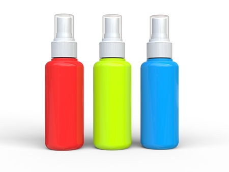 beautify: Red, green and blue unlabled spray bottles