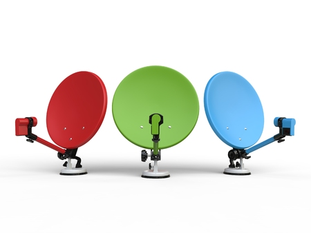 satelite: Red, green and blue TV satellite dishes