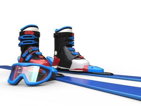 rimmed: Blue skiis with blue rimmed ski goggles