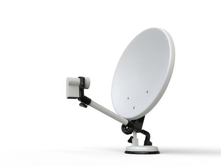 satelite: White TV satellite dish - side view