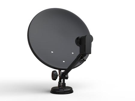 TV Noir antenne parabolique - plan agrandi avant Banque d'images - 64111940
