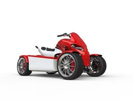 quad: Modern red electric quad bike - studio shot Stock Photo