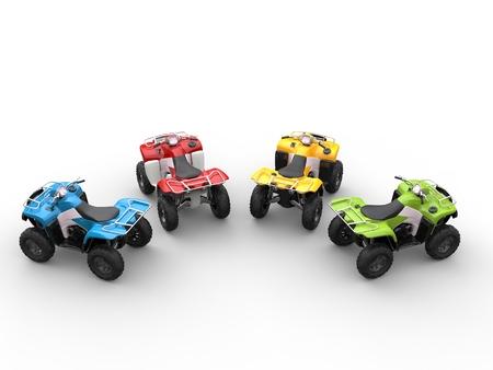 quad: Quad bikes in a semi-circle - top view