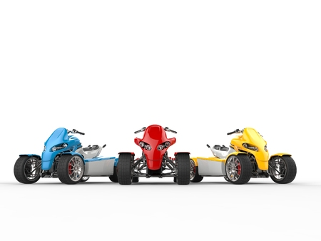 accelerated: Red, blue and yellow modern quad bikes