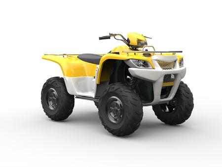 quad: White and yellow classic quad bike