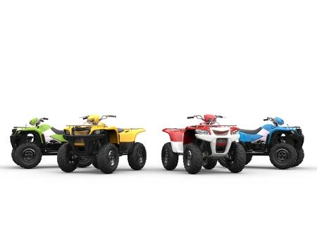 quad: Quad bikes in a semi-circle