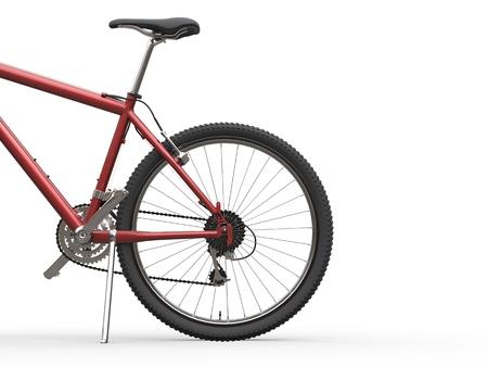 red metallic: Red metallic mountain bike - rear wheel shot