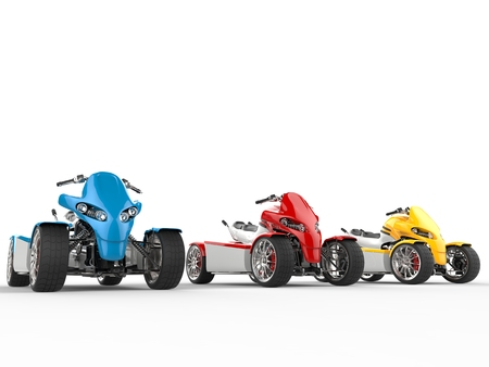 quad: Electric quad bikes in a row Stock Photo