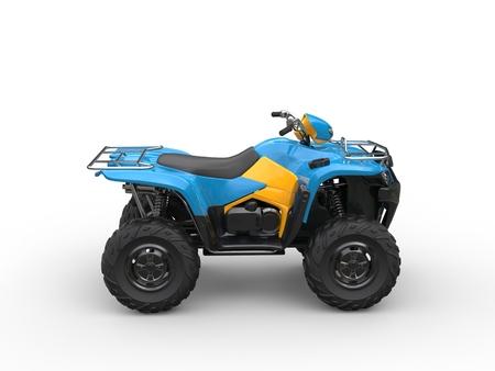 quad: Blue quad bike - side view