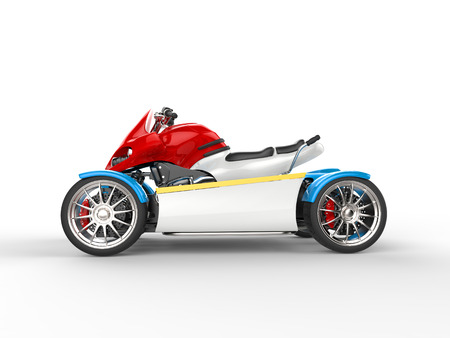 quad: Colorful modern electric quad bike - side view Stock Photo