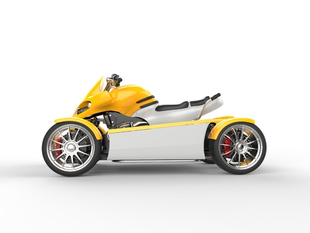 quad: Yellow modern electric quad bike - side view Stock Photo