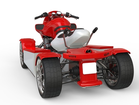 quad: Red and white quad bike - back view Stock Photo