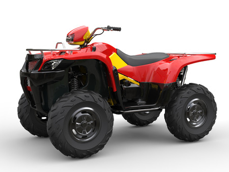 quad: Red quad bike with yellow side panels Stock Photo