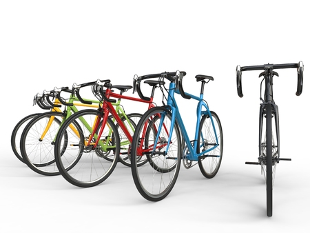 Set of colorful sports race bicycles