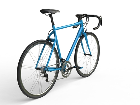 profesional: Awesome sky blue sports bicycle - back view Stock Photo