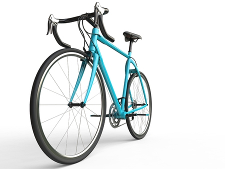 profesional: Bright blue profesional sports bike - focus on front wheel