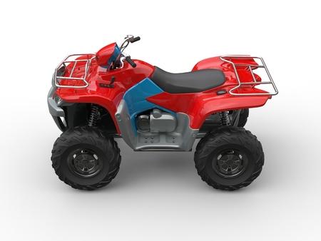 quad: Red blue quad bike - top side view