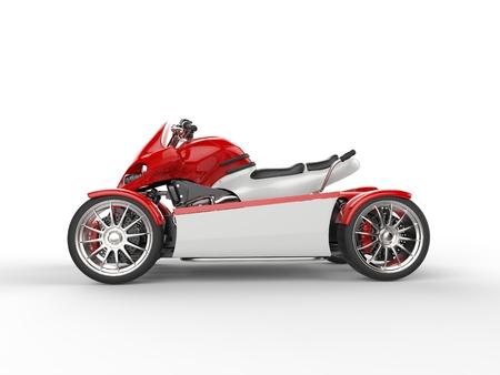 quad: Red modern electric quad bike - side view
