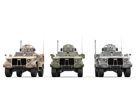 tactical: Military light armor tactical vehicles - front view Stock Photo