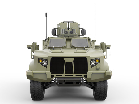 Green military all terrain tactical vehicle - front view