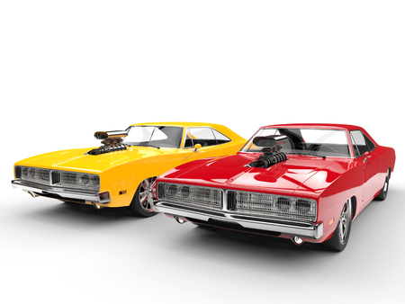 Fiery vintage muscle cars - isolated on white background
