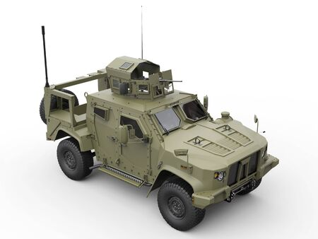 Green military all terrain tactical vehicle - top view