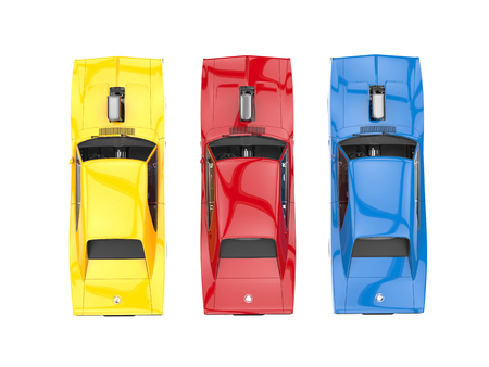 collectibles: Cool muscle cars - primary colors - top view Stock Photo