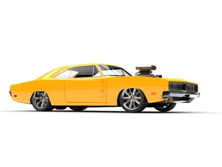 Yellow muscle car - studio shot - side view