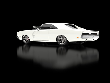 Awesome vintage white muscle car on black reflective background