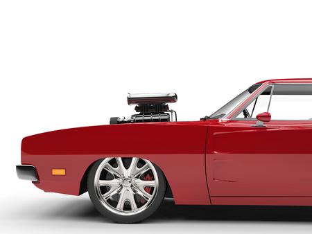 ビンテージ赤筋肉車側面カットを撮影